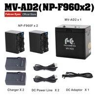Falcon Eyes Battery Holder Case MV AD2 + 2pcs NP F960 Batteries for FALCONEYES DVR 300DVC DVR 630DVC DVR 630D LED Ring Light