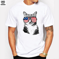 Rocksir Brand Men S T Shirt American Flag Glasses Cool Cat Character Pattern Straight Round Collar