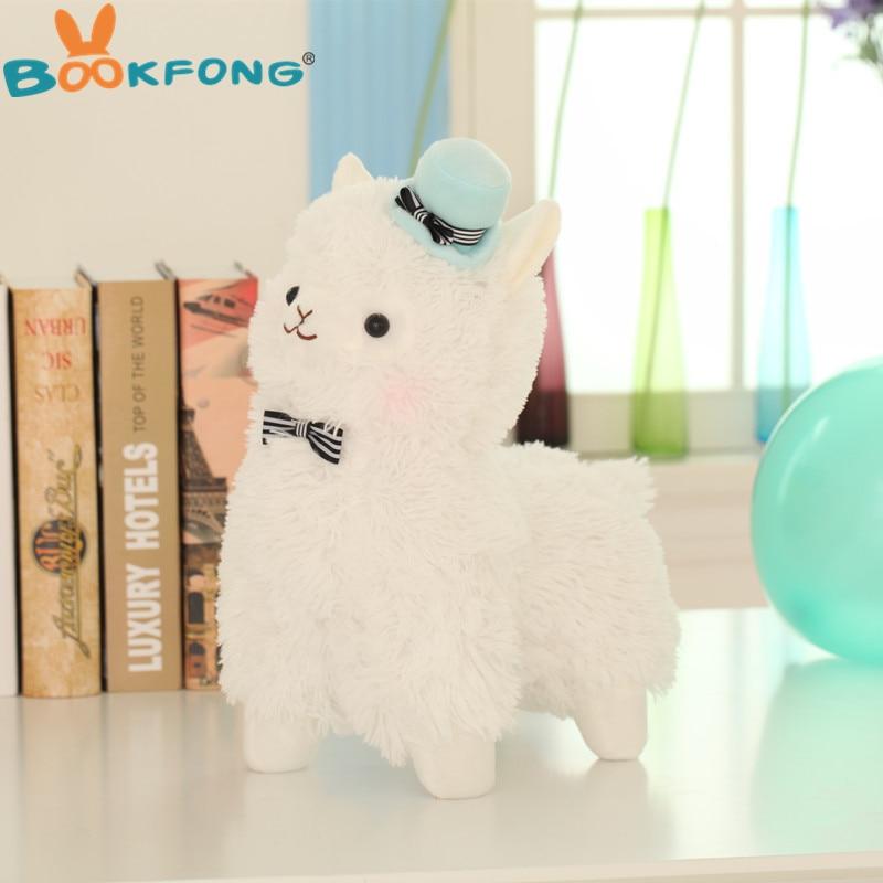 BOOKFONG 35 cm Alpaca caballo Topper sombrero de Alpaca de peluche de juguete de peluche peluches Animal ovejas niños regalo de cumpleaños de la muñeca