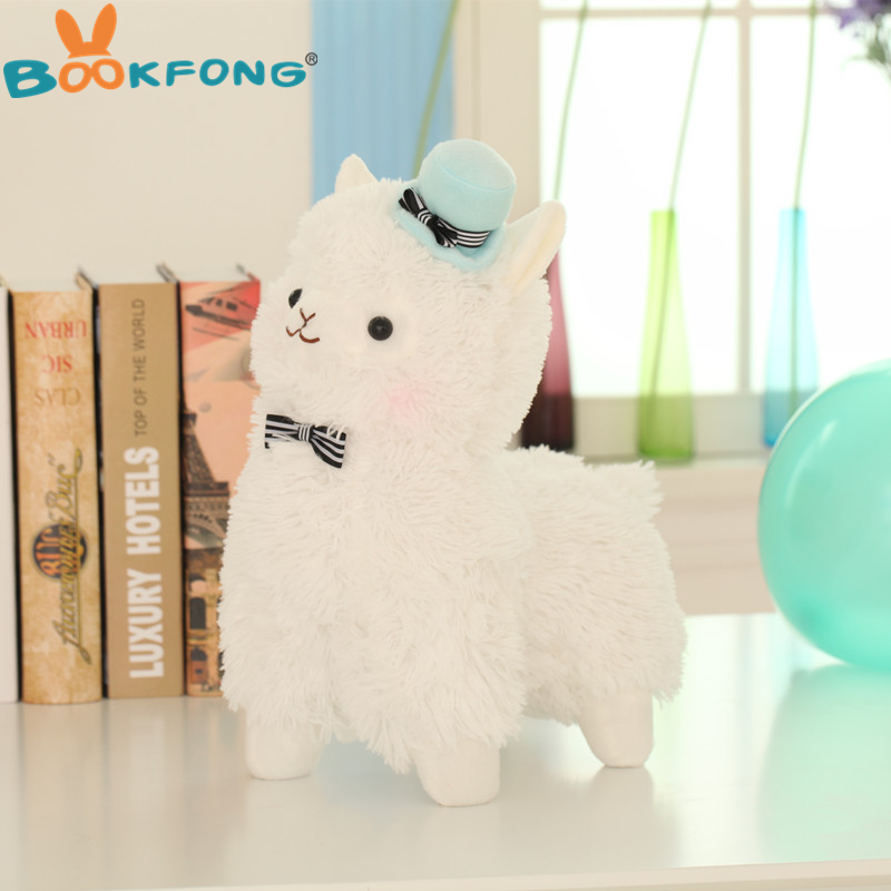 BOOKFONG 35cm Alpacasso Mud Horse Topper Hat Alpaca Plush Toy Lovely Stuffed Animal Sheep Kids Doll Birthday Gift hot 45cm good night alpaca toys japan amuse alpacasso arpakasso plush stuffed doll kids alpaca christmas gifts toy 5styles