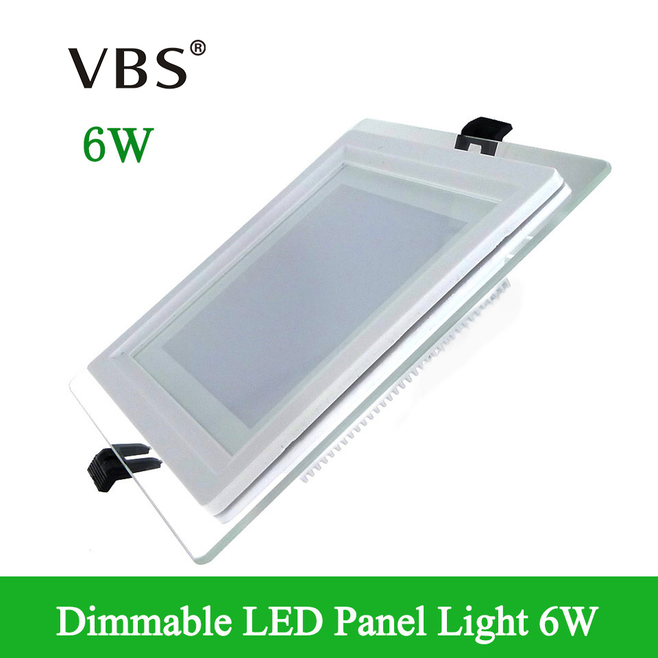 LED Panel Downlight Dimmable 6W Glass Recessed Ceiling Lamp Warm ...
