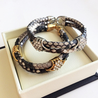 Mens Python Skin Leather Bracelets Real Python Bracelet With Rose Gold Plated Real Stainless Steel Clasp