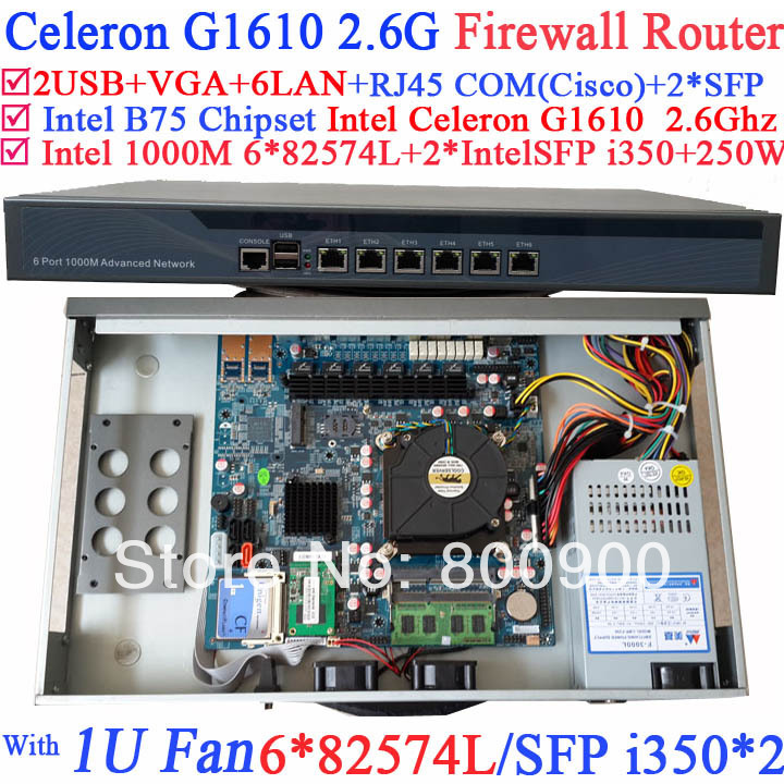rack pc 1U network Firewall Barebone with Six 1000M 82574L Gigabit Lan two intel i350 SFP fiber ports Intel Celeron G1610 2.6G