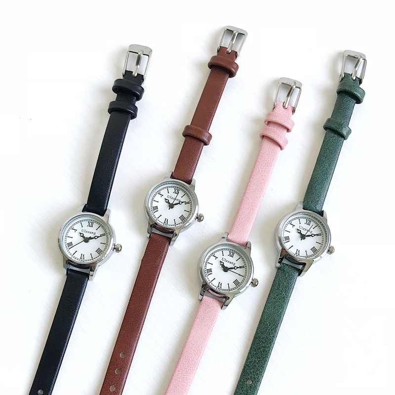 Ulzzang roma dial retro watches women designer small quartz leather woman clock casual quartz wristwatch Reloj femenino in Women 39 s Watches from Watches