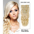 "16""-22'' 70G per Set 100% Brazilian Remy Hair Clip In/on Human Hair Extensions 7Pcs Body Wave Blonde Clip In Virgin Hair"