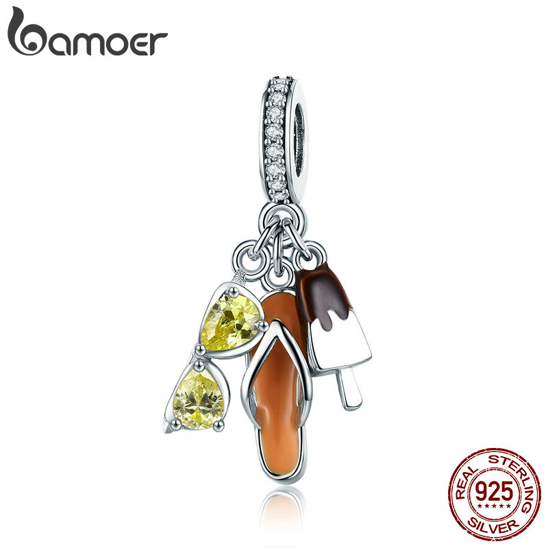 BAMOER Genuine 925 Sterling Silver Holiday Pendant Sunglasses Color Crystal Charms fit Women Bracelets jewelry Making SCC770