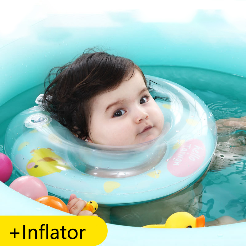 Inflatable Neck Ring Baby  Swim Float Ring Safety Infant Double Balloon Anti-back Collar Neck Circle Bathing Accesorios