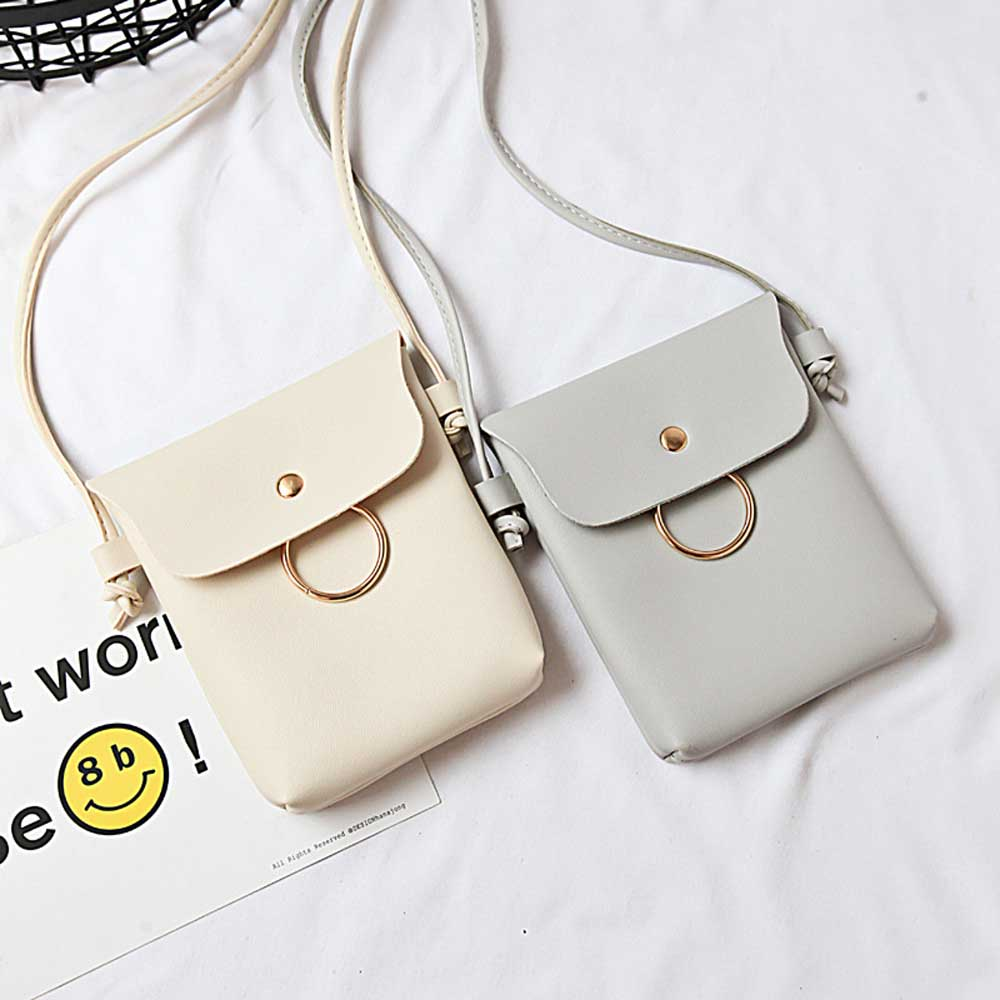KSQ PU Leather Cell Phone Bag Wallet luxury Purse Neck Strap Shoulder bag make-up bag Simple portable Casual Bags for girl