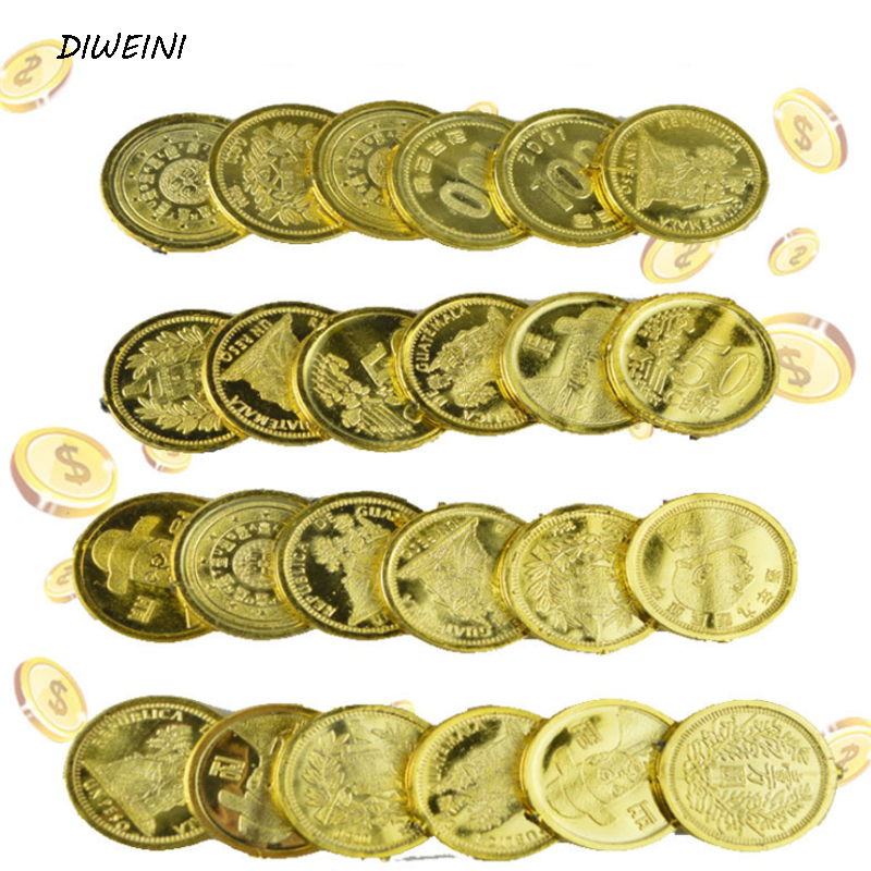 24 Pcs/pack Funny Plastic Gold Treasure Coins Captain Pirate Pretend Treasure Chest Kids Party Coins Tricky Action Figure Toys