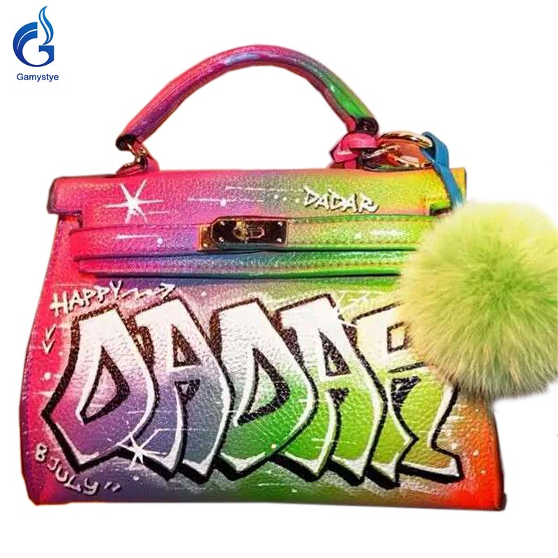 GAMYSTYE Graffiti leather handbags Women's luxury Bags Hand Painted Cool letter rock punk painting totes Female Graffiti handbag rock skull graffiti custom bags handbags women luxury bags hand painted painting graffiti totes female blose women leather bags