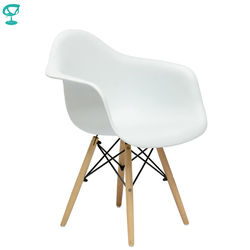 94898 Barneo N-14 пластиковый кухонный стул на деревянном основании интерьерное кресло мебель для кухни обеденный стул цвет белый кресло для столо...