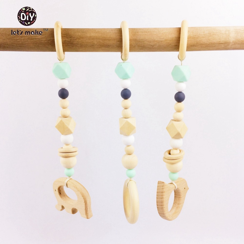Lets Make Baby Teether 3pcs Elephant Beech Wood Animal Wooden Ring Rattle Play Gym Round Beads Silicone Beads Wooden Teether