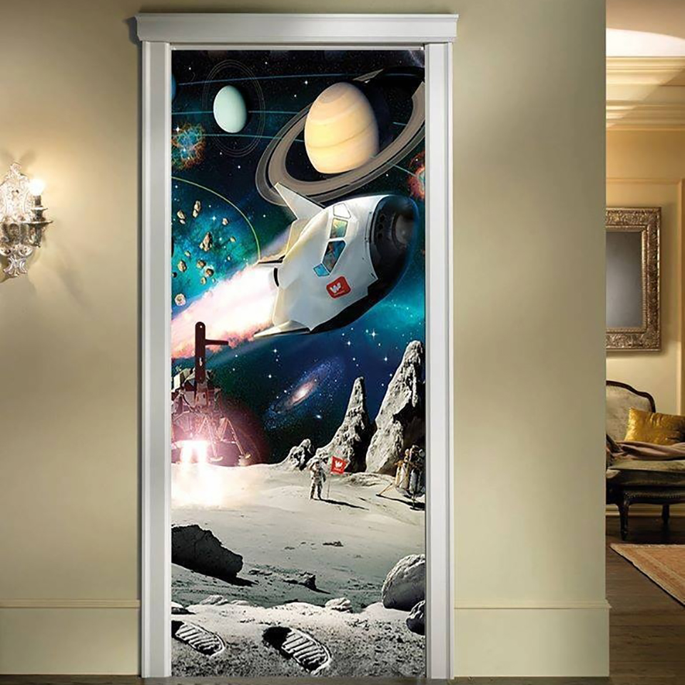 Sticker Home Door Decoration Space Ship Planet 3D Self Adhesive Diy Art Decal Renovation PVC Wallpaper Living Room Print Picture