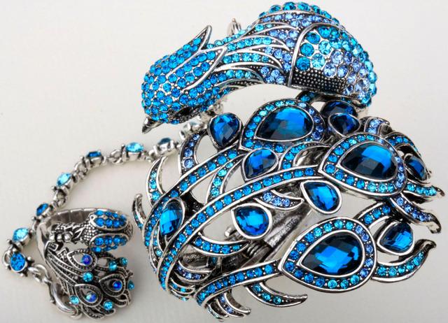 Pavão pulseira slave cadeia mão com anel anexado em um conjuntos para as mulheres A23 prata banhado a ouro dropship por atacado