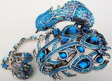 Pavo real brazalete de la pulsera de cadena de la mano esclava con anillo unido en uno fija para las mujeres A23 de plata chapado en oro dropship al por mayor