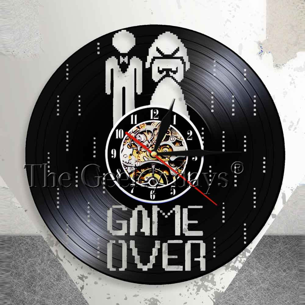 Game Over Marriage Wall Clock Funny Video Game Bachelorette Wedding Gift Vinyl Record Wall Clock Marriage Engagament Party Decor
