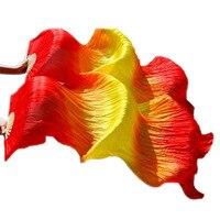 Women 1.8m Hand Made Cheap Belly Dance Silk Fan Veils Strong Bamboo Fire Color Red Yellow Red
