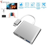 TOFOCO USB 3.1 Type C Adapter with HDMI for Nintend Switch Dock For Samsung S8 PC Mode Note 8 thunderbolt 3 USB C Charging Stand
