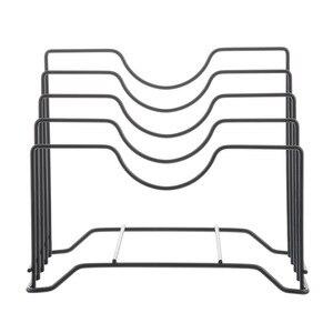 Image 5 - Junejour, 1 unidad, soporte de cocina para almacenamiento, bandeja escurridora, estante para sartenes, tabla de cortar, estante de almacenamiento, soporte organizador de tapas, plato de hierro