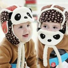 2017 New Lovely Panda Hats Baby Caps Kids Aviator Hat Bomber Winter Cap Children Masks Warm All Children Clothing Accessories
