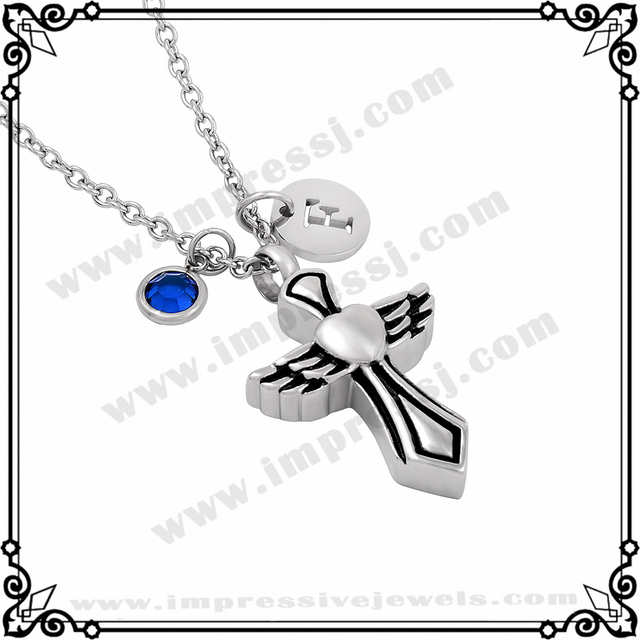 MJD8326 Personalized Cremation Jewelry Black W Cross Urn Ashes Necklace Memorial Keepsake Pendant