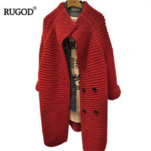 RUGOD Women Solid Red Irregular Loose Cardigans Sweater 2018 Autumn Winter Double Breasted Elegant Casual Female Knitted Sweater