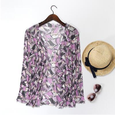 Новое прибытие 100% шелк женский рубашка чистые женщины шелковое платье sun proof clothing женский длинными рукавами кардиган шелк sunscreen-b193