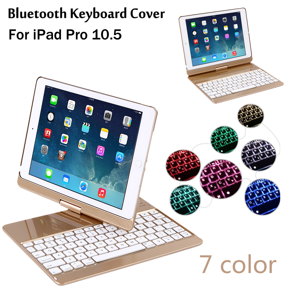 New 2017 For iPad Pro 10.5 360 degree rotation 7 Colors Backlit Light Wireless Bluetooth Keyboard Case Cover + Gift