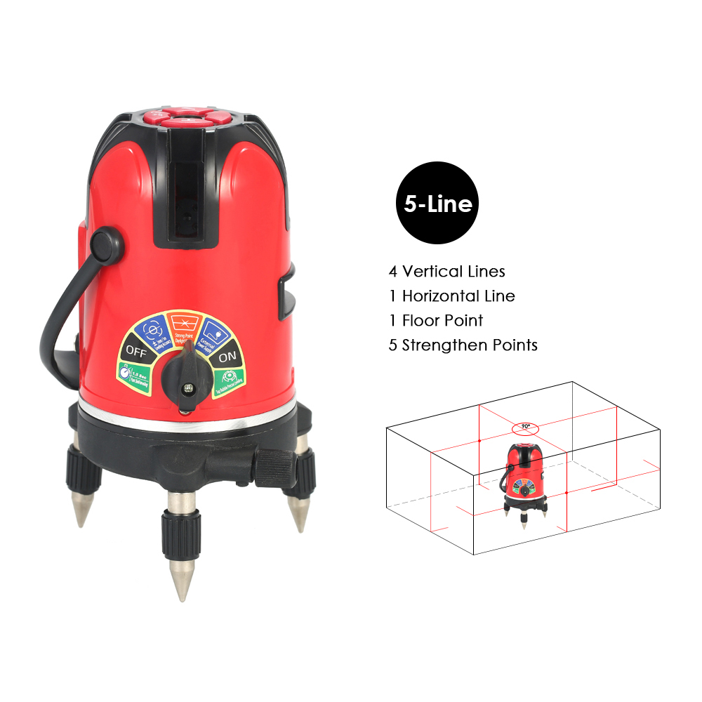 5 Lines Automatic Laser Level 360 Degree Rotary Horizontal and Vertical Cross Line Leveling Laser Level Kit +Protective Glasses right angle 90 degree vertical horizontal laser line projection square level
