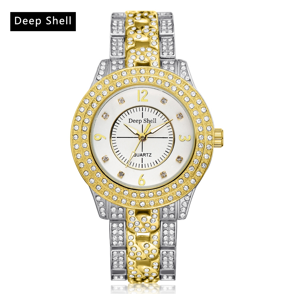 2017 Deepshell  Brand Women Fashion Luxury Watch Gold Stainless Steel Watch Diamond Quartz WristWatches Dress Women Watch DS026 onlyou brand luxury fashion watches women men quartz watch high quality stainless steel wristwatches ladies dress watch 8892