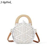 2019 women's fashion wood wicker handle Camel bag new White Straw bag shoulder bag Hand Woven Wooden Handle Rattan Bag
