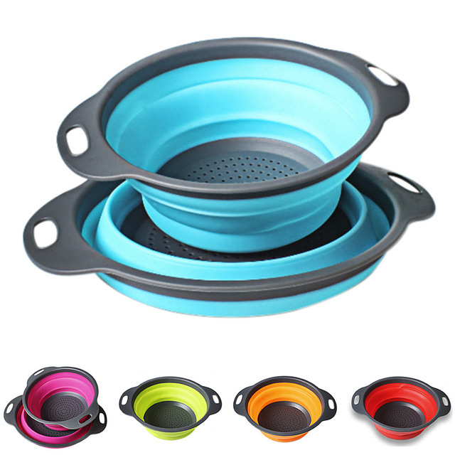 2 PCs/ Set Collapsible Silicone Colander Folding Kitchen Strainer Fruit Vegetable Strainer Kitchen Accessories 3