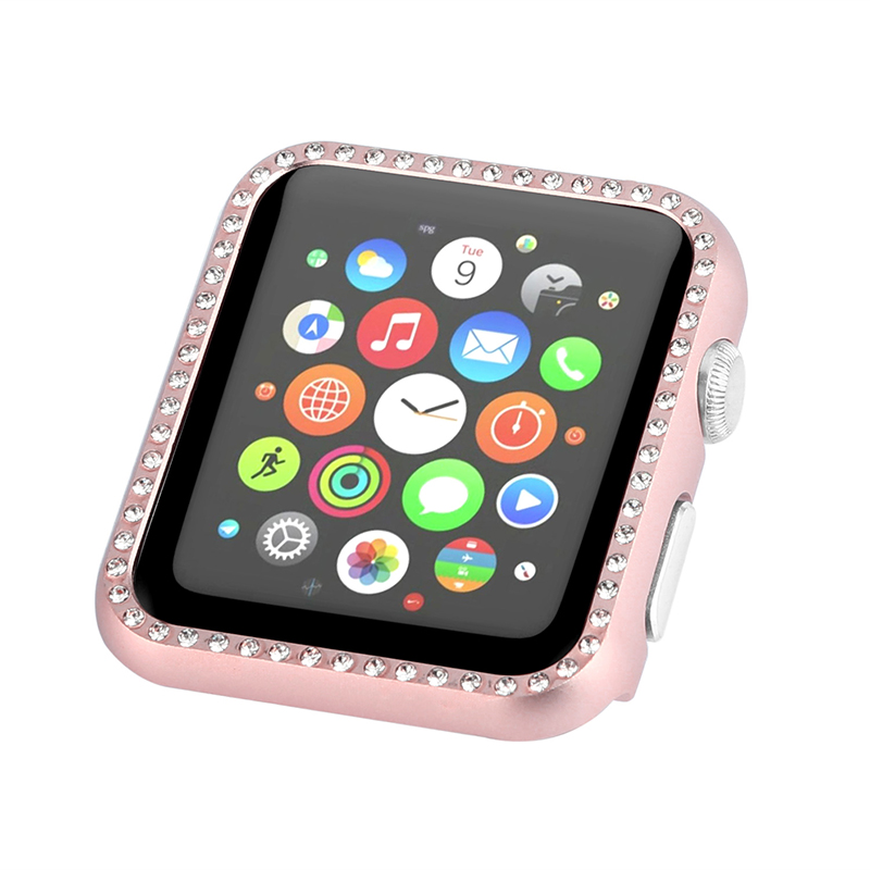 все цены на Crystal Rhinestone Diamond Aluminum Case Shell Protective Frame Cover for 38mm Apple Watch iwatch 42mm Series 3/2/1 Metal Bumper онлайн