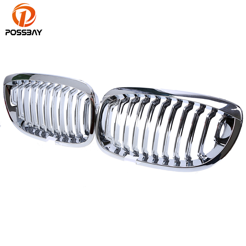POSSBAY Chrome Silver Front Kidney Grill Grilles For BMW 3 Series E46 Cabrio 2003 2006 Facelift