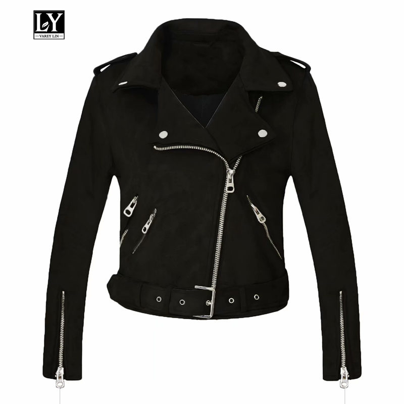 Ly Varey Lin 2019 New Autumn Faux Suede Women Motorcycle Jacket Red Pink Black Faux Leather Jacket Punk Outerwear With Belt