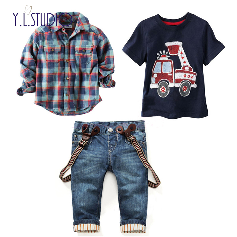 2019 Latest Design 3pcs Boy's Fashion Set In Cotton 1pc T-shirt With Cartoon Print + 1pc Checked Blouse 1pc Demin Jeans American Casual Styling
