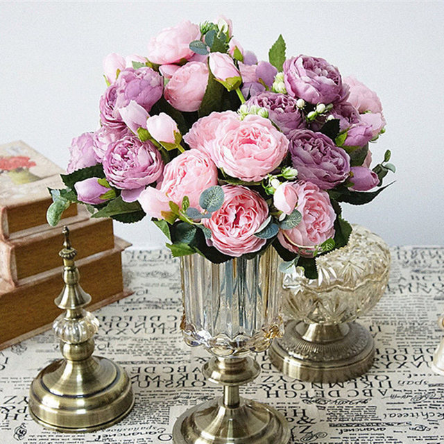 2018 Belle Rose Pivoine Fleurs de Soie Artificielle petit bouquet flores  accueil parti printemps de mariage