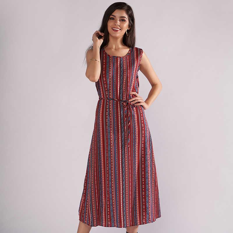 b247486b376 ... Женское винтажное летнее платье 2018 с круглым вырезом без рукавов цветочный  принт свободное Повседневное платье с ...