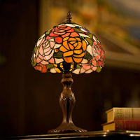 Stained Glass Red Rose Flower Wedding Marriage Living Drawing Room Decorative Small LED Bedside Desk Table Lamp Light Decoration