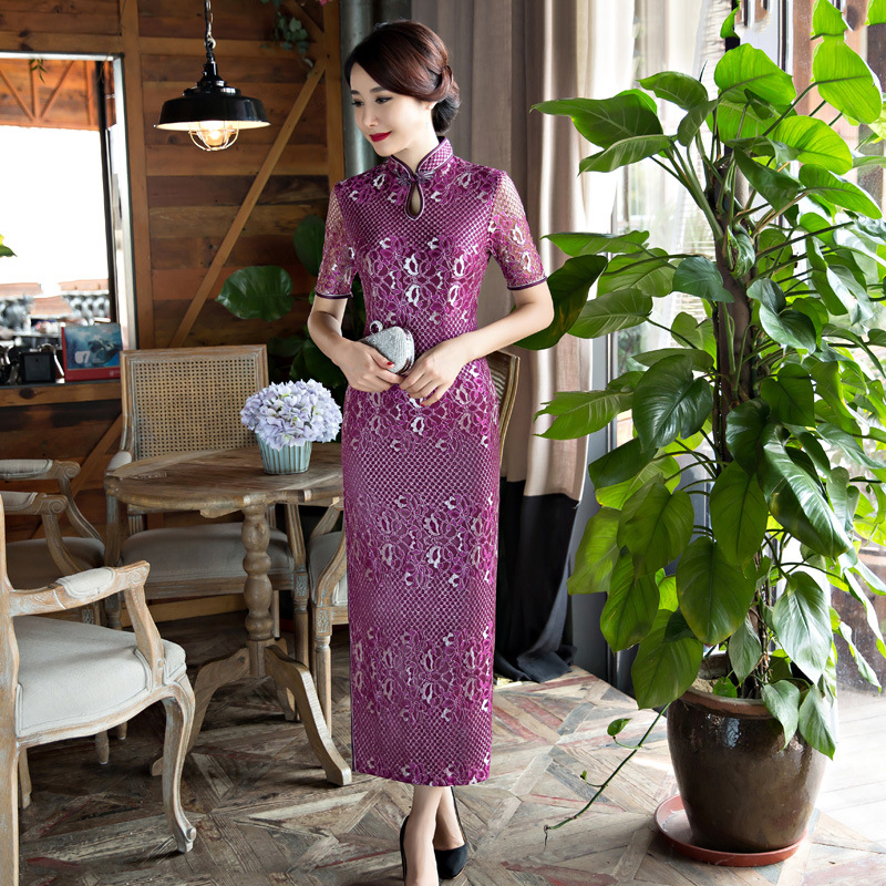 Wanita Cheongsam Panjang Seksi Renda Qipao Cina Tradisional Wedding Dresses Evening Dress Ukuran Kualitas M-3XL
