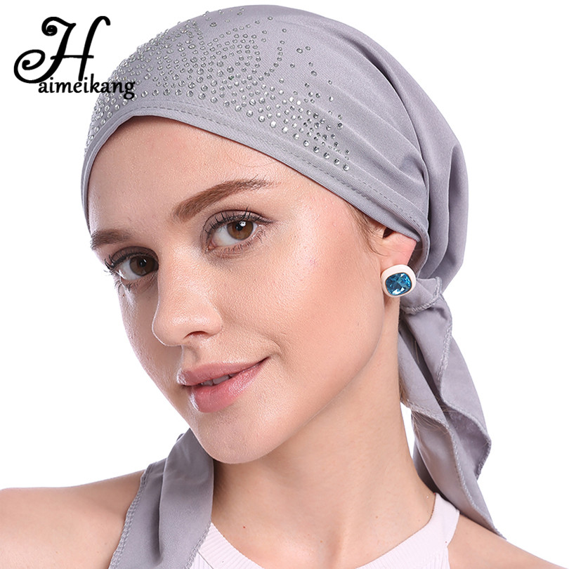 Haimeikang Autumn Winter Fashion Rhinestone Indian Headband Hat Hair bands for Women Lady Muslim Turban Cap Kerchief   Headwear