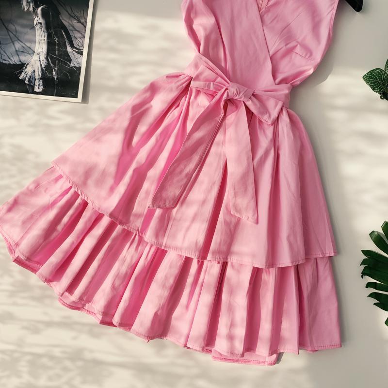 Korean Vintage Pure V Collar Sleeveless High Waist Bow Tie Double Ruffle Holiday Dress Women Vestidos E348 79