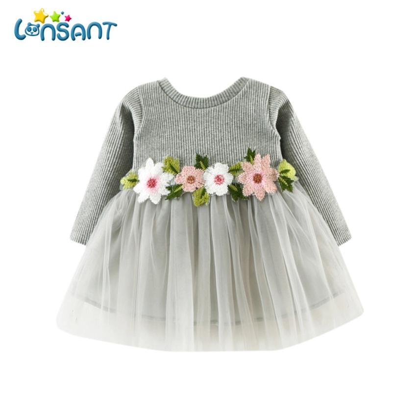 4107e89ff LONSANT Baby Girl Floral Vestido de Princesa Moda Bonito Vestidos Crianças  Roupas Infantis De Menina Fantasias Infantil Dropshipping