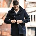 AK Marca CLUB de Lana Pea Coat Jacket Outwear Invierno 65.3% Abrigo de lana Gruesa de Lana Pesada Hombres Chaqueta Medio Largo Peacoat 1541044