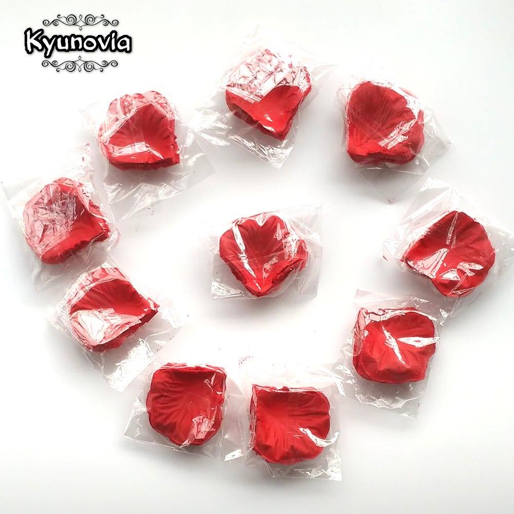 Kyunovia 1000 piezas pétalos de rosa postizos flor chica tirar pétalos de seda pétalos artificiales para boda confeti fiesta decoración FR03