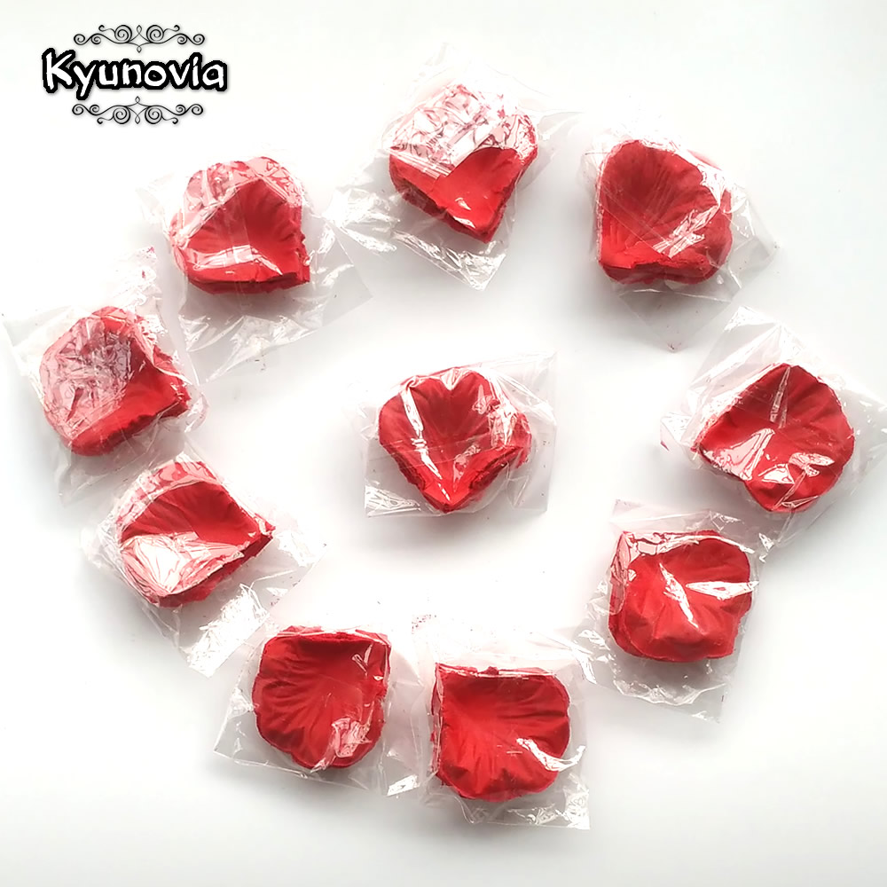 Kyunovia 1000 unids falso pétalos de rosa flor chica Lanzamiento de seda pétalo Artificial pétalos para boda fiesta evento decoración FR03