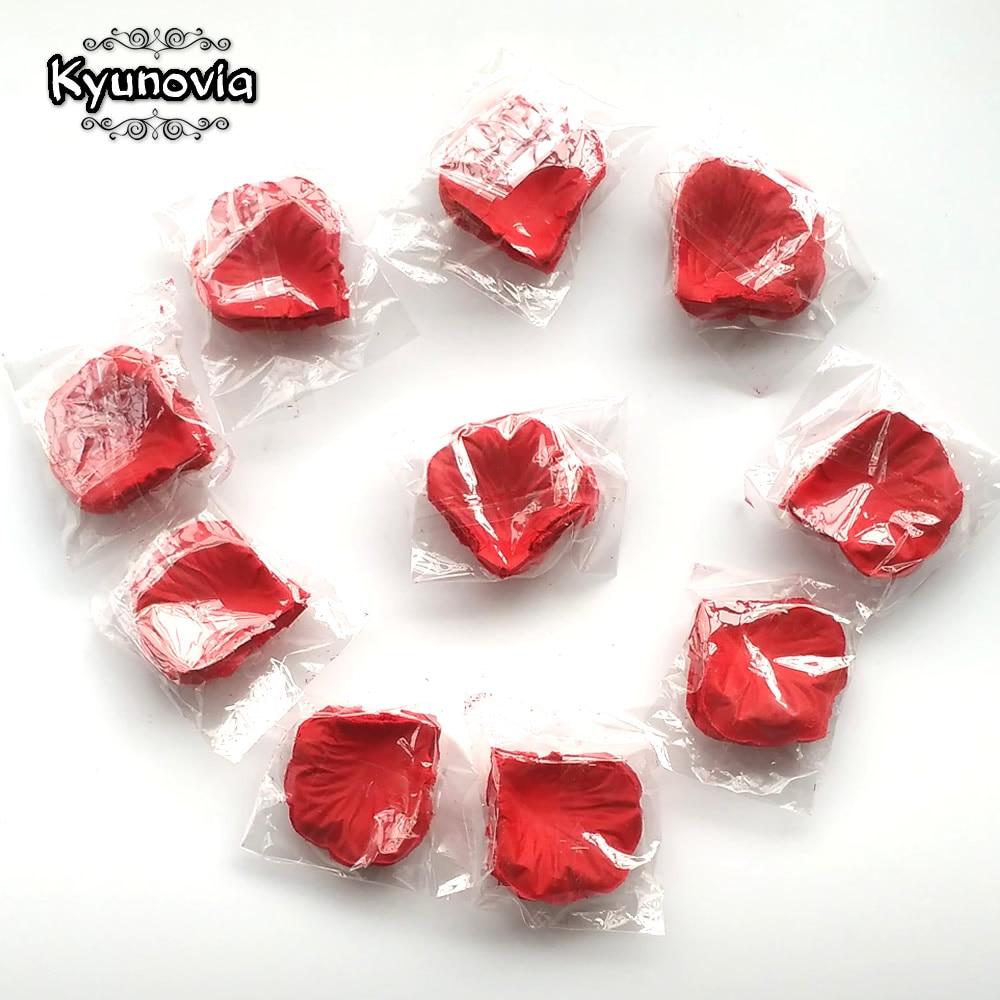 Kyunovia 1000pcs Fake Rose Petals Flower Girl Toss Silk Petal Artificial Petals For Wedding Confetti Party Event Decoration FR03