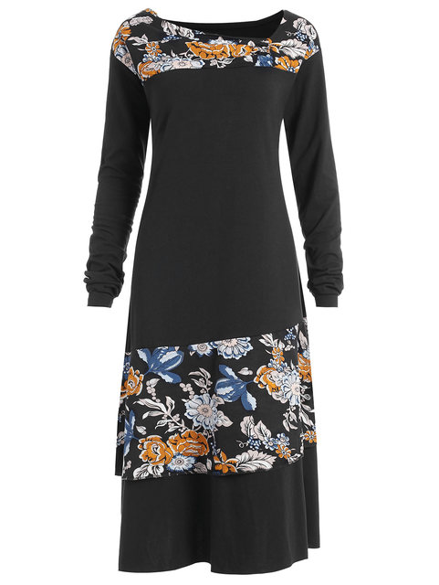 a9ca503dfe705 Gamiss Women Plus Size Floral Panel Asymmetrical Dress Black Color Long  Sleeves Vestidos Spring Shirts Dress. Mouse over to ...