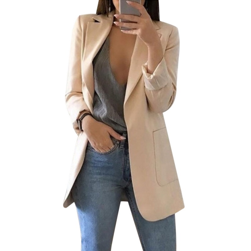 LASPERAL Spring Women Blazer Fashion Solid Long Sleeve Cardigan Jacket Suit Vintage Turn-Down Collar Outwear Ladies Blazer Top