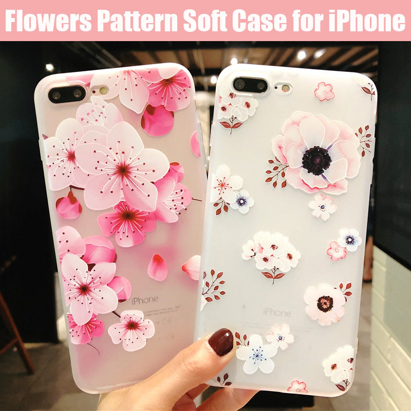 KIP7P1152_1_Flowers Pattern Soft TPU Case for iPhone 7 Plus